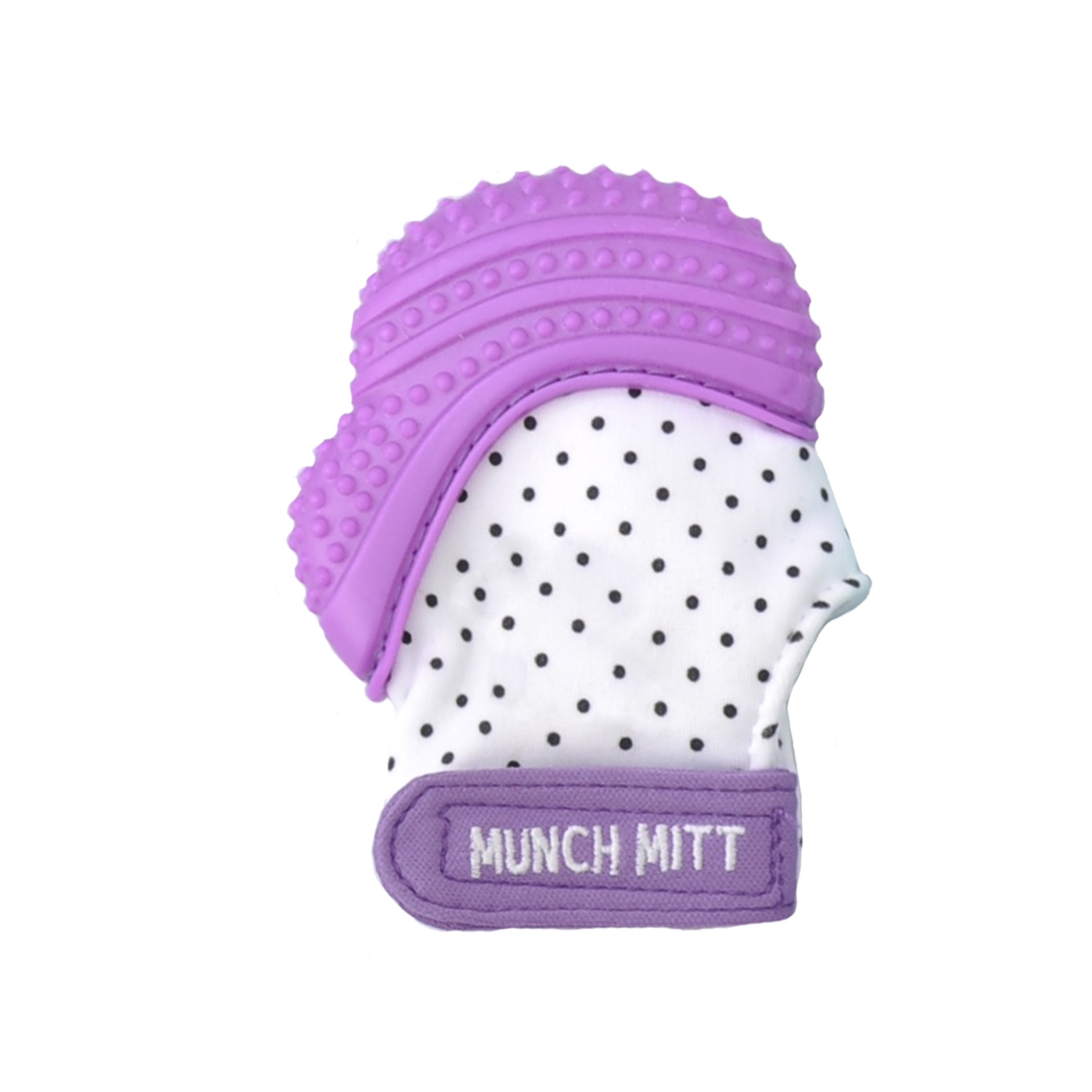 Malarkey Kids Munch Mitt Teething Mitten - The ORIGINAL Mom-Invented Silicone Teether Mitten with Travel Bag – Ideal Teething Toys for Baby Shower Gift  - Purple Polka Dot