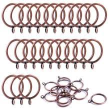 ANJUU 24 Pack 38mm Inner Diameter Metal Curtain Drape Sliding Eyelet Rings Red Antique Bronze Tone
