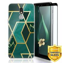 TJS Phone Case for LG Stylo 5/Stylo 5 Plus/Stylo 5V/Stylo 5X, with [Full Coverage Tempered Glass Screen Protector] Ultra Thin Slim TPU Matte Color Marble Transparent Clear Soft Skin (Dark Green)