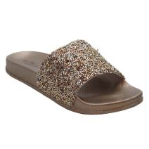Blue Women's DIDI Sequin Glitter Rhinestone Strap Slide Slip on Slipper Summer Sandals