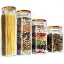 Food Storage Containers Set, Elegant Life 4Pcs Cereal Container Kitchen Storage Jars with Lids Airtight Seal Jar Clamp Caps Glass Canister for Flour/Sugar/Beans/Spice/Oats 5.5L