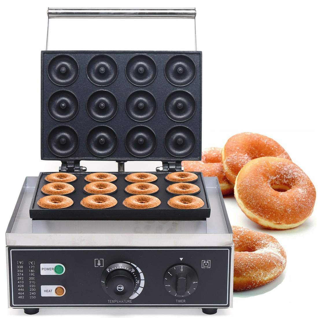 DNYSYSJ 12 Mini Donut Electric Maker 1500W for Breakfast Snacks Desserts with Non-stick Surface Stainless Steel Countertop Mini Cupcake Pie and Quiche Waffle Maker (12 Holes - 2in Each)
