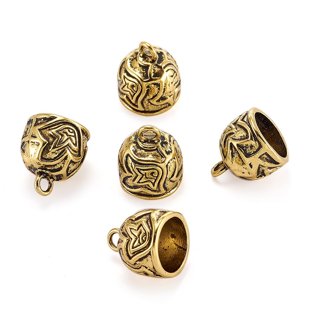 Pandahall 5pcs Tibetan Style Alloy Cord Ends Caps Tassel Glue on Cover with Loops for Jewelry Makings Antique Golden 18x15mm Hole: 3mm