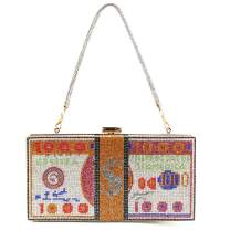 Cash Dollars Clutch Purse for Women Diamond Crystal Evening Bag 2 Way Chain Party Cocktail Wedding Dinner Handbag