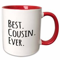 3dRose Best Cousin Ever-Gifts for family and relatives-black text, Mug, 15 oz, Red/White