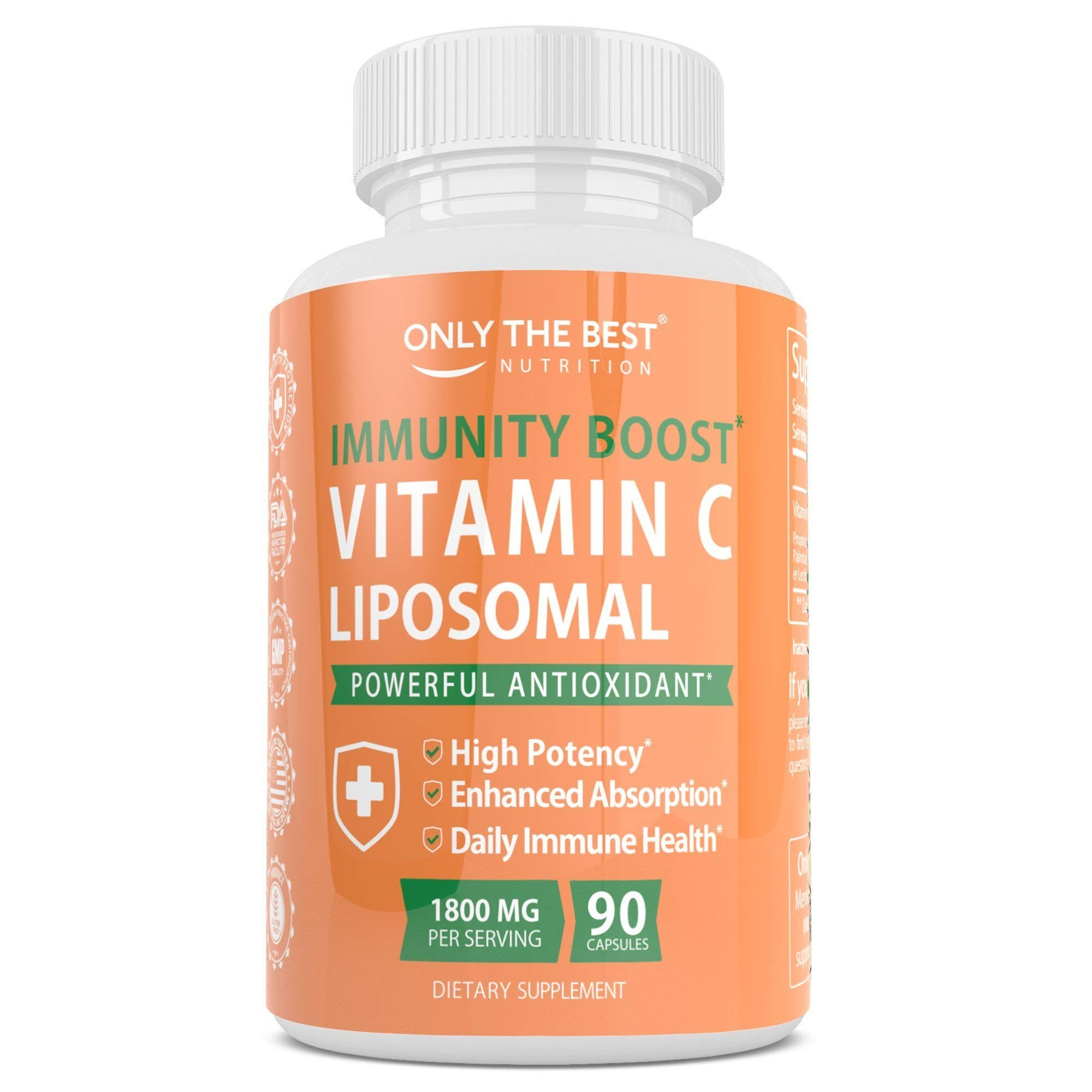 Only The Best Liposomal Vitamin C Buffered 1800mg - Immune System & Collagen Booster, High Absorption Fat Soluble VIT C, Anti Aging Vitamins, Anti Inflammatory Powerful Antioxidant Sunflower Lecithin