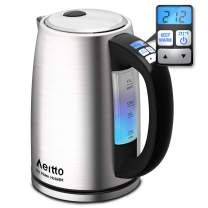 Electric Kettle, Stainless Steel Variable Temperature Control Water Kettle, Cordless Tea Heater BPA-Free Fast Boiling & Keep Warm, Boil-Dry Protection, 6 Color Lights, 1500W 1.7L, Aeitto