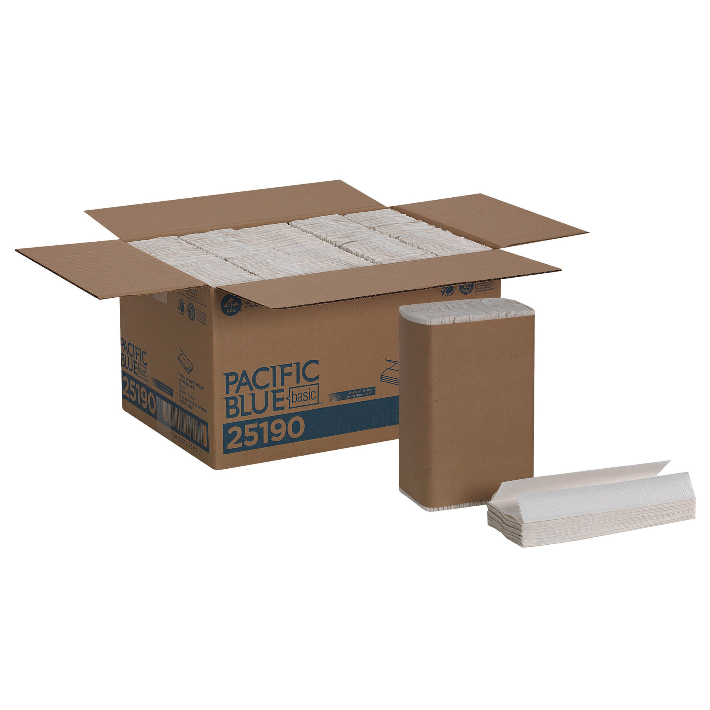 Pacific Blue Basic C-Fold Recycled Paper Towels (previously branded Envision) by GP PRO (Georgia-Pacific), White, 25190, 240 Towels Per Pack, 10 Packs Per Case