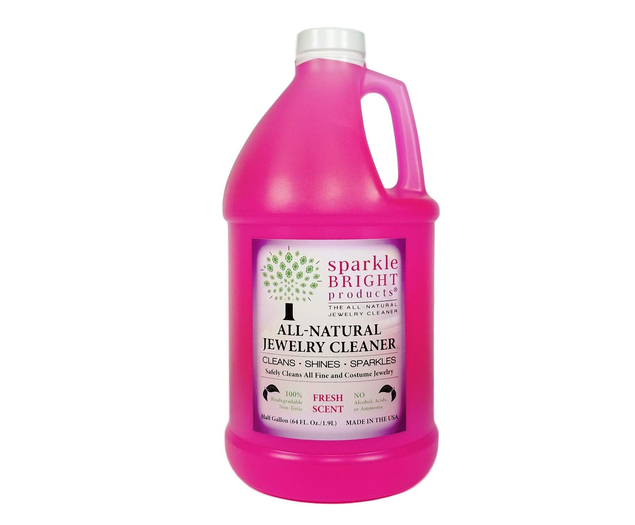 Sparkle Bright Products All-Natural Jewelry Cleaner | Liquid Jewelry Cleaning Solution, Half Gallon (64oz.) | Ultrasonics, Diamonds, Fine, Fashion, and Designer Jewelry