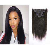 Italian Yaki Straight Hair Clip In Hair Extensions 100% Real Remy Human Hair 8A Grade Thick Virgin Hair Clip Ins 4C African Americans Full Head Natural Color For Black Women 7pcs/set 120g/set 10 Inch