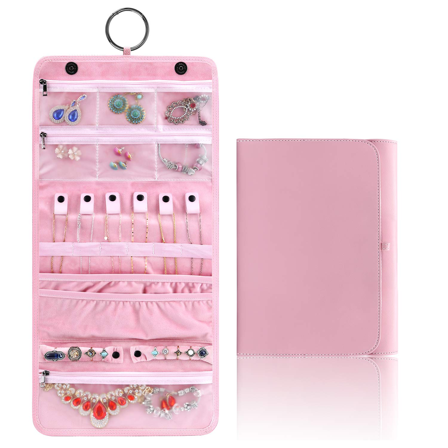 KeeQii Travel Jewelry Organizer Roll Case for Journey, Travel Hanging Jewelry Storage Cases for Bracelets, Necklace, Rings(Pink)