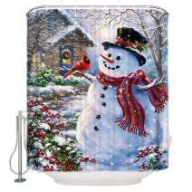 CHARMHOME 60x72 Inch Winter Holiday Merry Christmas Happy Snowman and Cardinals Shower Curtain New Waterproof Fabric Bath Curtain (Shower Rings Included)