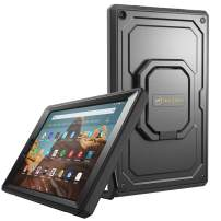 Fintie Case for All-New Amazon Fire HD 10 (7th and 9th Generations, 2017 and 2019 Releases) - [Tuatara Magic Ring] 360 Rotating Multi-Functional Grip Carry Cover w/Built-in Screen Protector, Black
