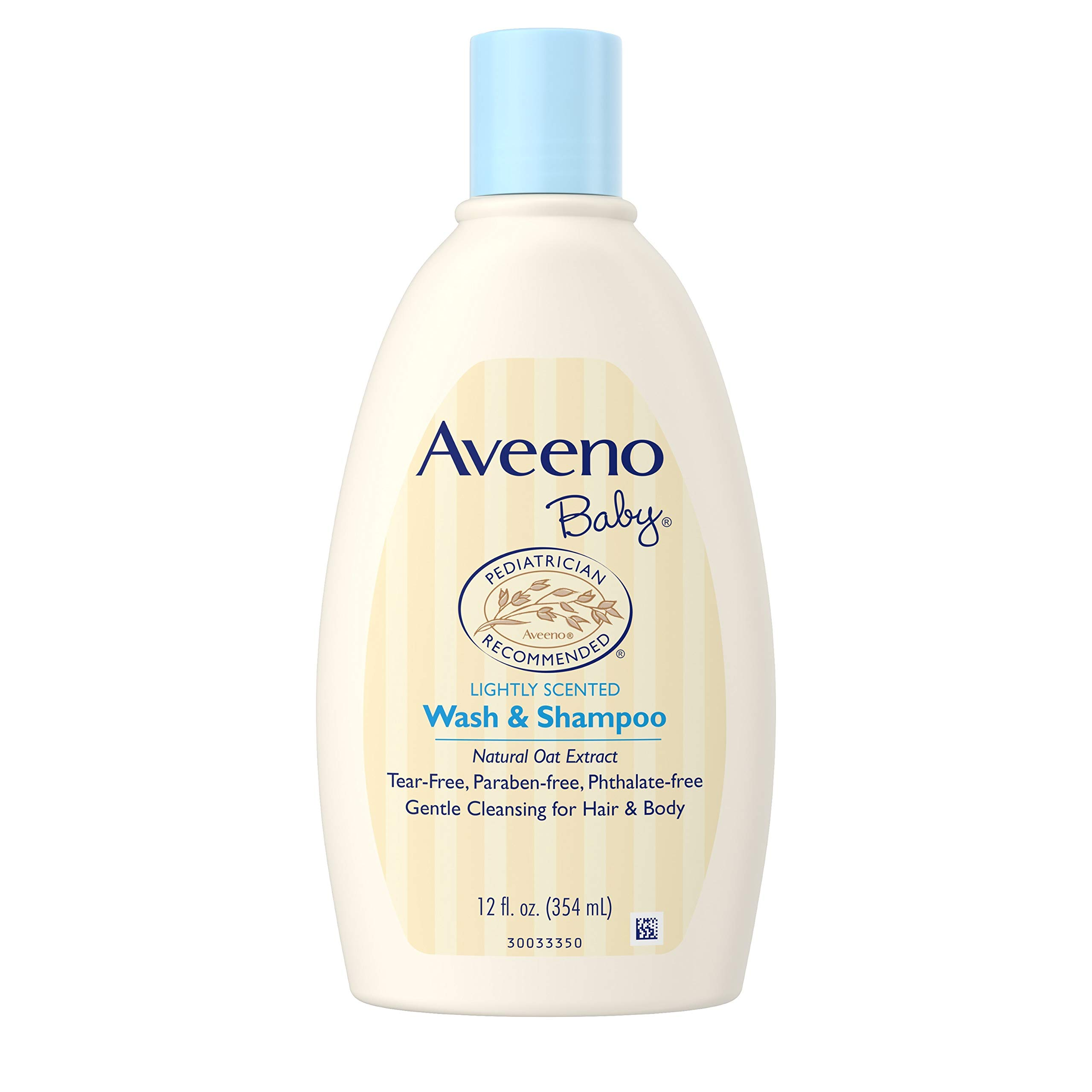 Aveeno Baby Gentle Wash & Shampoo with Natural Oat Extract, Tear-Free & Paraben-Free Formula For Hair & Body, Lightly Scented, 12 fl. oz