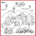 Kids Small Washable Coloring Play Mat with Bustling 'City Life' Design, Along with 12 Washable Markers, 'the Perfect Alternative for Coloring Books' Great for Boys & Girls by Dimple