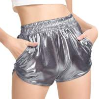 PESION Women's Metallic Shiny Shorts Sparkly Rave Hot Short Pants
