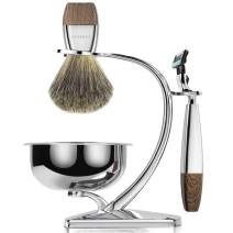Thanking Giving Gift ACRIMAX Premium Shaving Brush Set with 100% Pure Badger Shaving Brush, Luxury Brush Stand, Soap Bowl and Manual Safety Razor(mach3) Kits for Gentleman