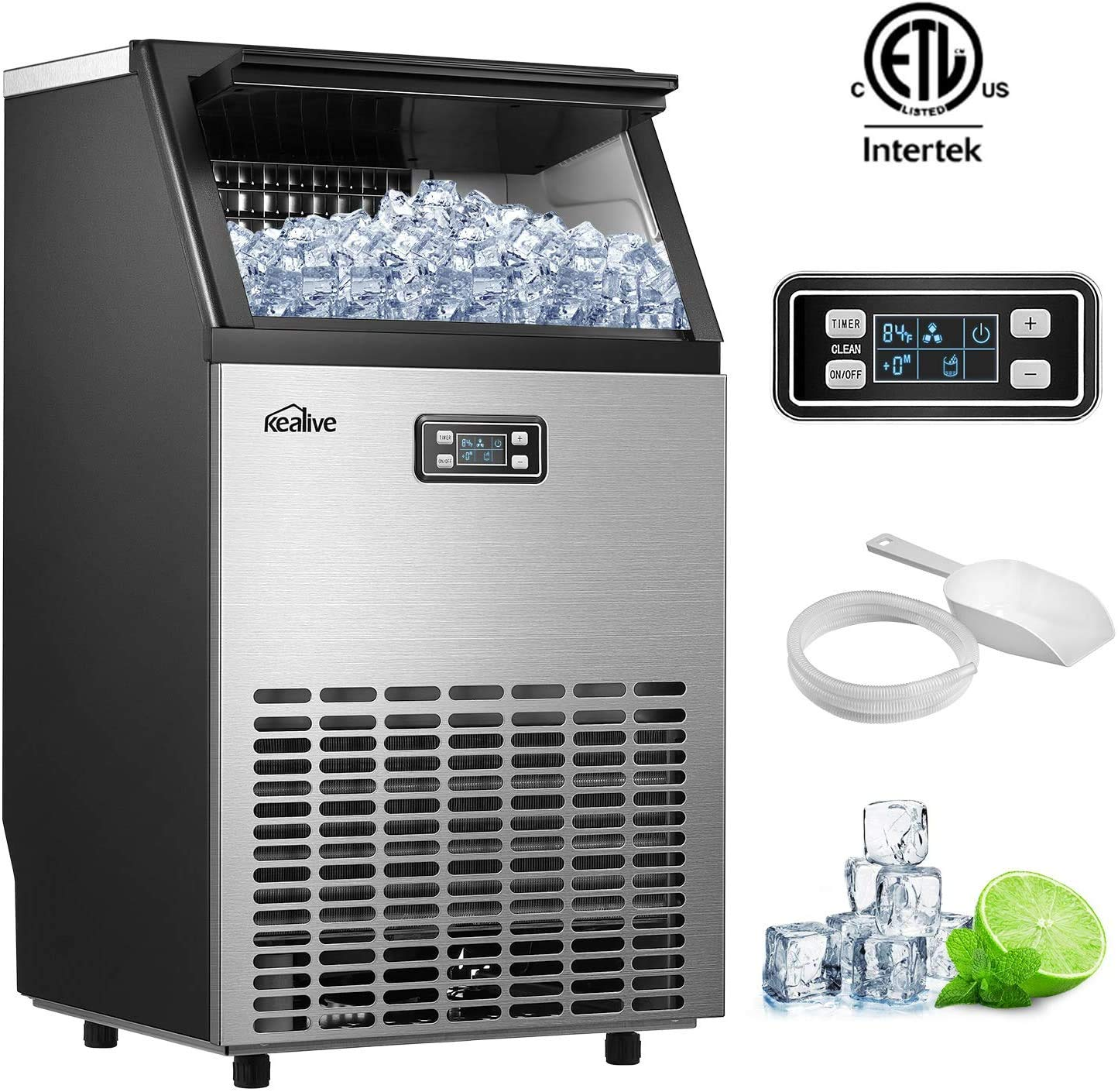 Kealive Commercial Ice Maker Machine, Stainless Steel Freestanding Ice Cube Maker, 99lbs Ice in 24hrs with 33 lbs Storage Capacity, Self-Cleaning LCD Control Panel with Ice Scoop and Connection Hose