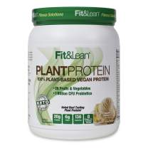 Fit & Lean Plant Protein- 100% Plant Based Vegan Meal Replacement Protein Powder, Non-GMO, Certified Organic, Keto Friendly, Lactose Free, Soy Free, Gluten Free, Sugar Free, Vanilla, 15 Servings