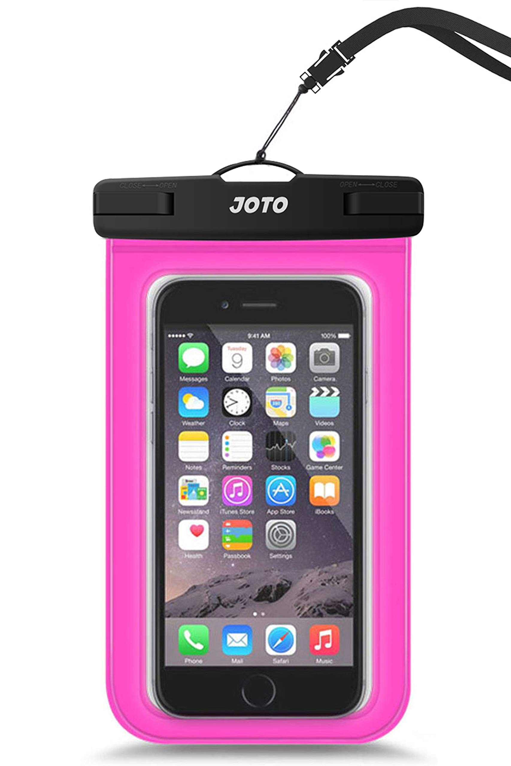 """JOTO Universal Waterproof Pouch Cellphone Dry Bag Case for iPhone 11 Pro Max Xs Max XR X 8 7 6S Plus SE 2020, Galaxy S20 Ultra S20+ S10 Plus S10e S9 Plus S8/Note 10+ 9, Pixel 4 XL up to 6.9"""" -Magenta"""