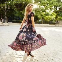 Hemlock Long Wrap Dress, Women Dress Floor Length Chiffon Dress V Neck Dress (XL, Black-2)