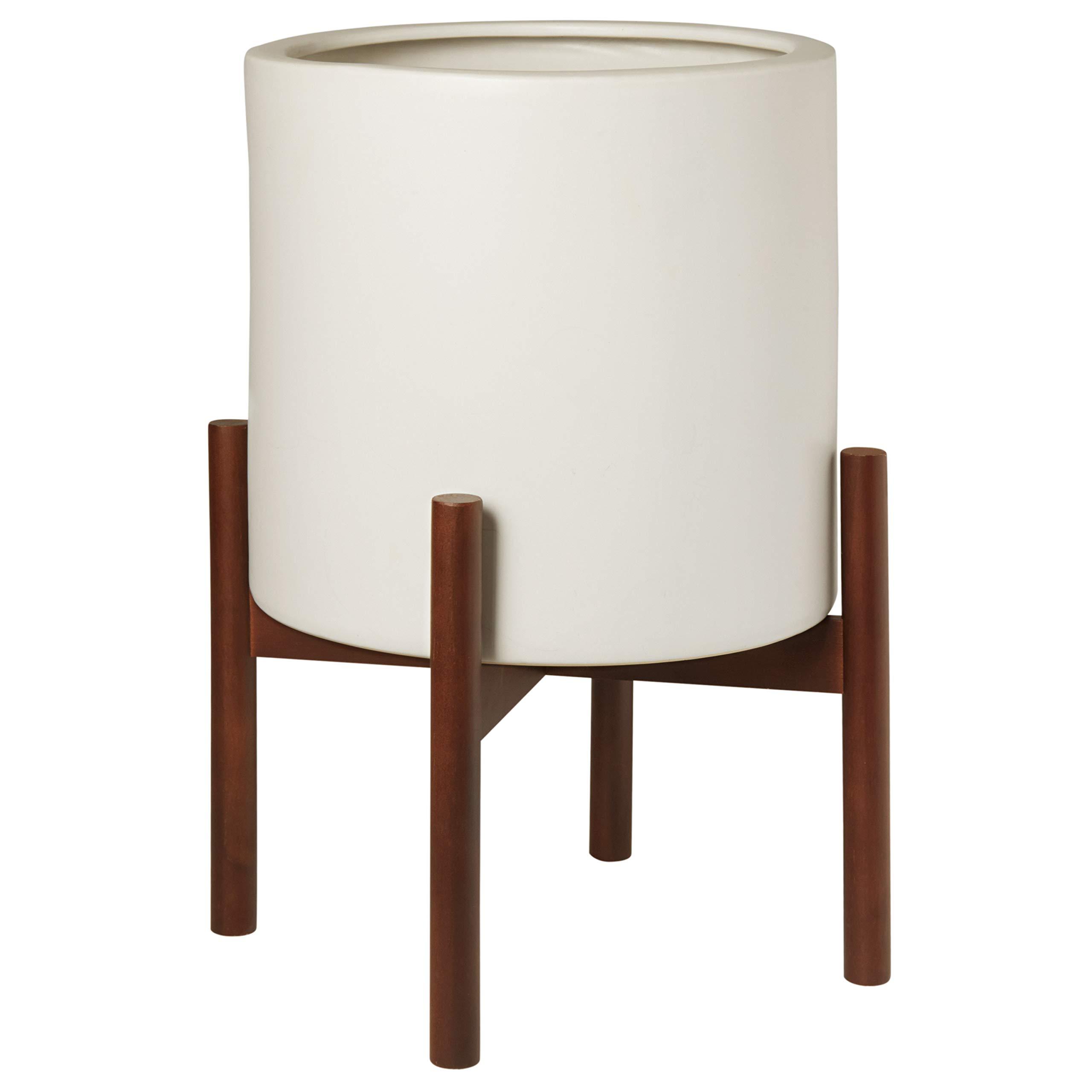 "Amazon Brand – Rivet Surrey Modern Ceramic Planter Pot with Wood Plant Stand, 17""H, White"