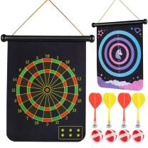 Vanmor Magnetic Dart Board, 2 Sided Roll Up Dartboard Indoor Outdoor Party Games for Kids, Best Gift Toy for 6 7 8 9 Year Old Boys Girls with 4 Magnetic Darts and 4 Dart Balls
