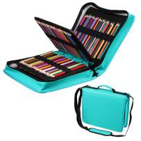 210 Slots Colored Pencil Case PU Leather Pencil Holder Large Capacity Pen Bag Marker Carrying Case for Prismacolor, Watercolor Pencils, Colored Pencils, Gel Pens, Cosmetic Brush Organizer (Green2)