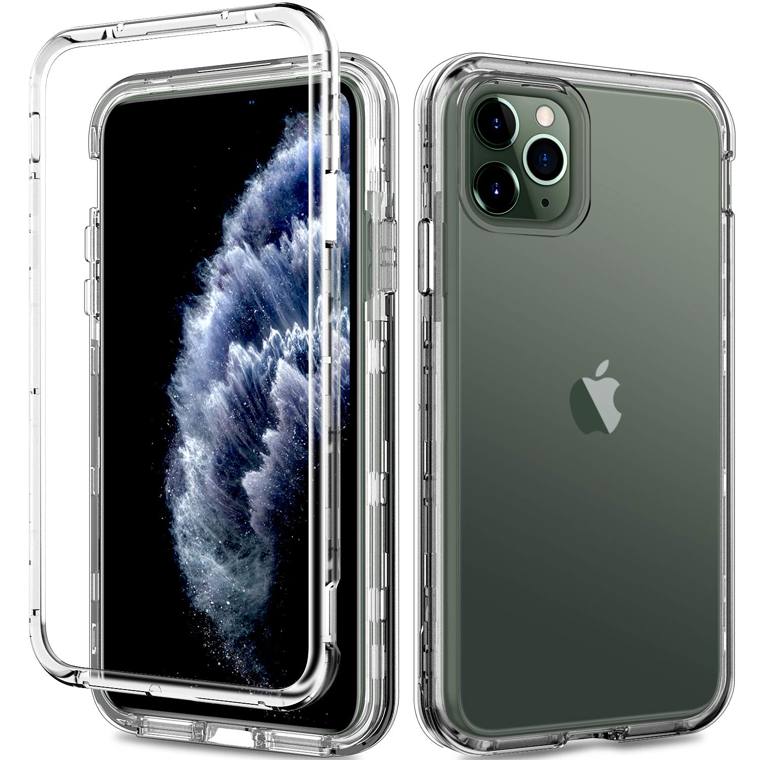 ACKETBOX iPhone 11 Pro Max Case,Heavy Duty Hybrid Impact Defender Hard Clear PC Back Case and Bumper+Transparent TPU Cover Full Body Protective Cover for iPhone 11 Pro Max 6.5 Inch Release 2019