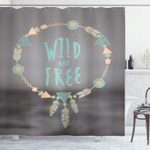 """Lunarable Tribal Shower Curtain, Dream Catcher Wild and Free Pastel Culture Folk Print, Cloth Fabric Bathroom Decor Set with Hooks, 70"""" Long, Turquoise Peach"""