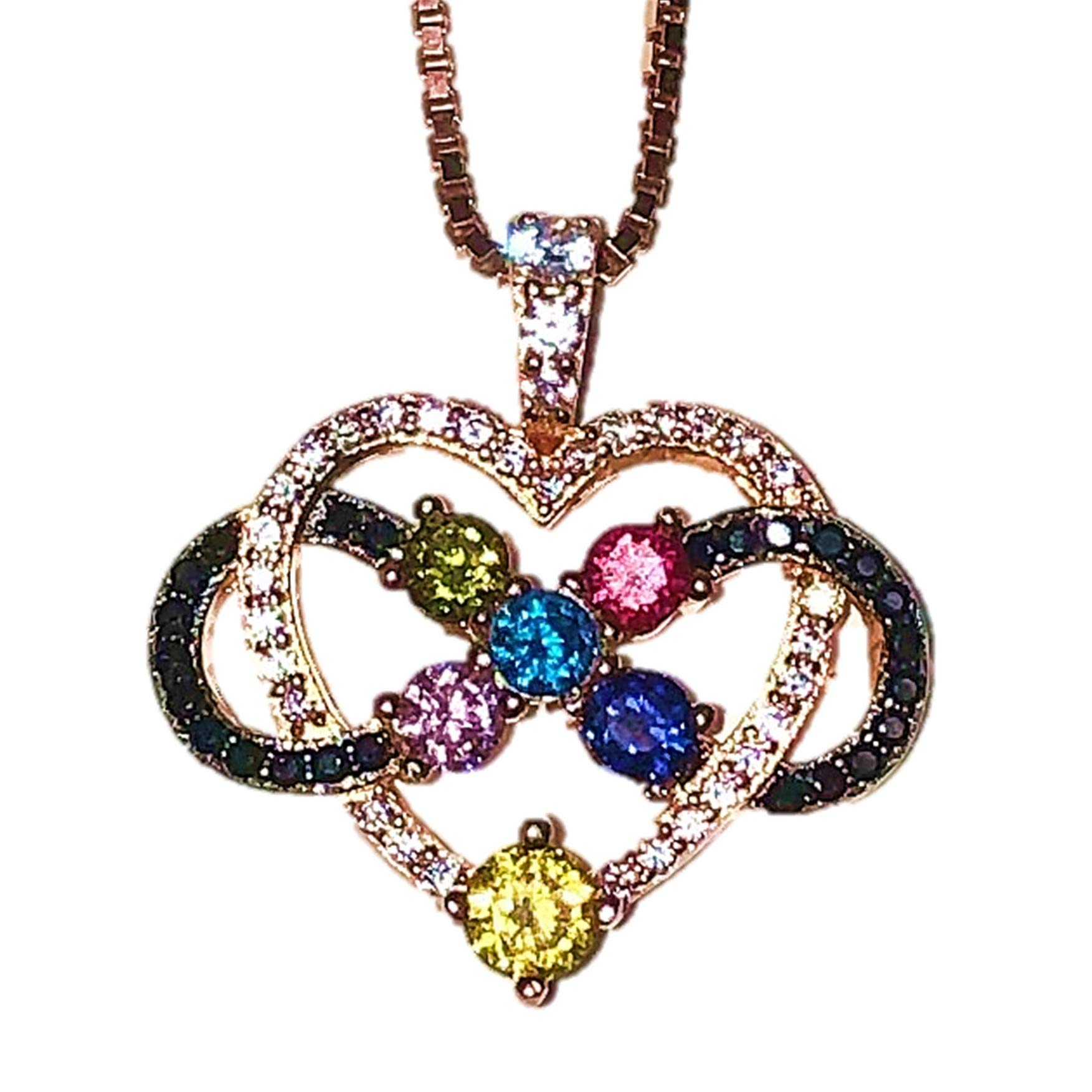 """Central Diamond Center Nana Infinity Love Pendant Mother & Child 1-5 Stones with a .80mm 22"""" Adj. Box Chain, Silver,10K or 14K Gold"""