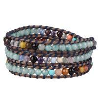 KELITCH Turquoise Heart Beaded Genuine Leather 3 Wrap Bracelet Handmade Fashion Women Jewelry