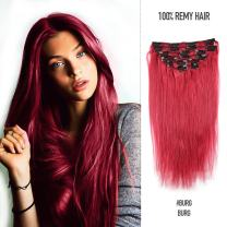 Fabwigs Clip In Human Hair Extensions 8Pcs 100g/Set 20 Clips Full Head Silky Straight Remy Human Hair (14inch,#Burg)
