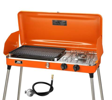 PUPZO Liquid Propane Grill,2 Burner Grill/Stove Portable Barbecue Grill Outdoor Cooking Camping Stove Stainless Steel Orange