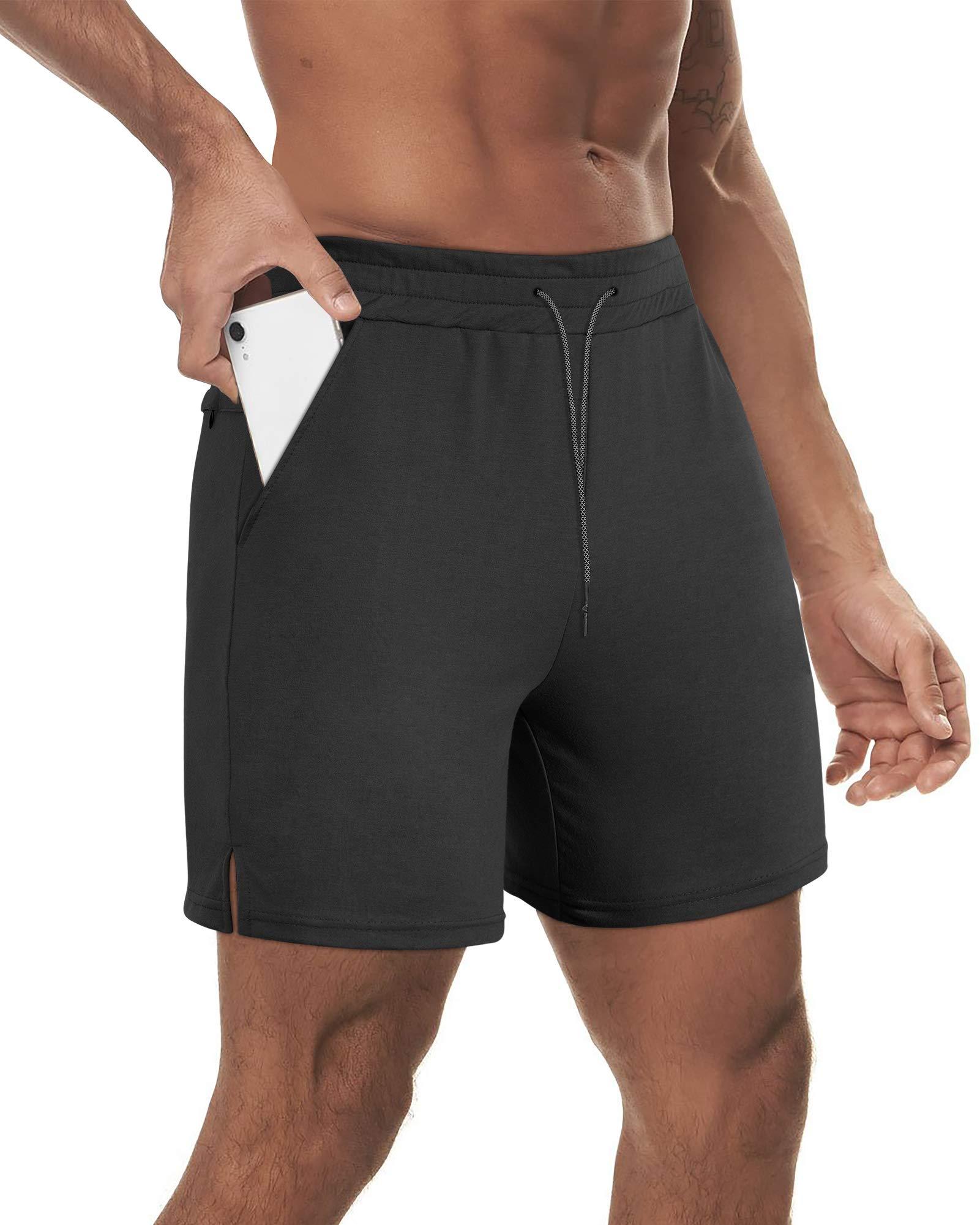 "Milin Naco Mens 7"" Drawstring Athletic Workout Shorts for Men with Pockets"