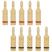 WGGE WG-3333 24k Gold Plated Speaker Banana Plugs-Closed Screw Type (5 Pairs (10 PLUGS))