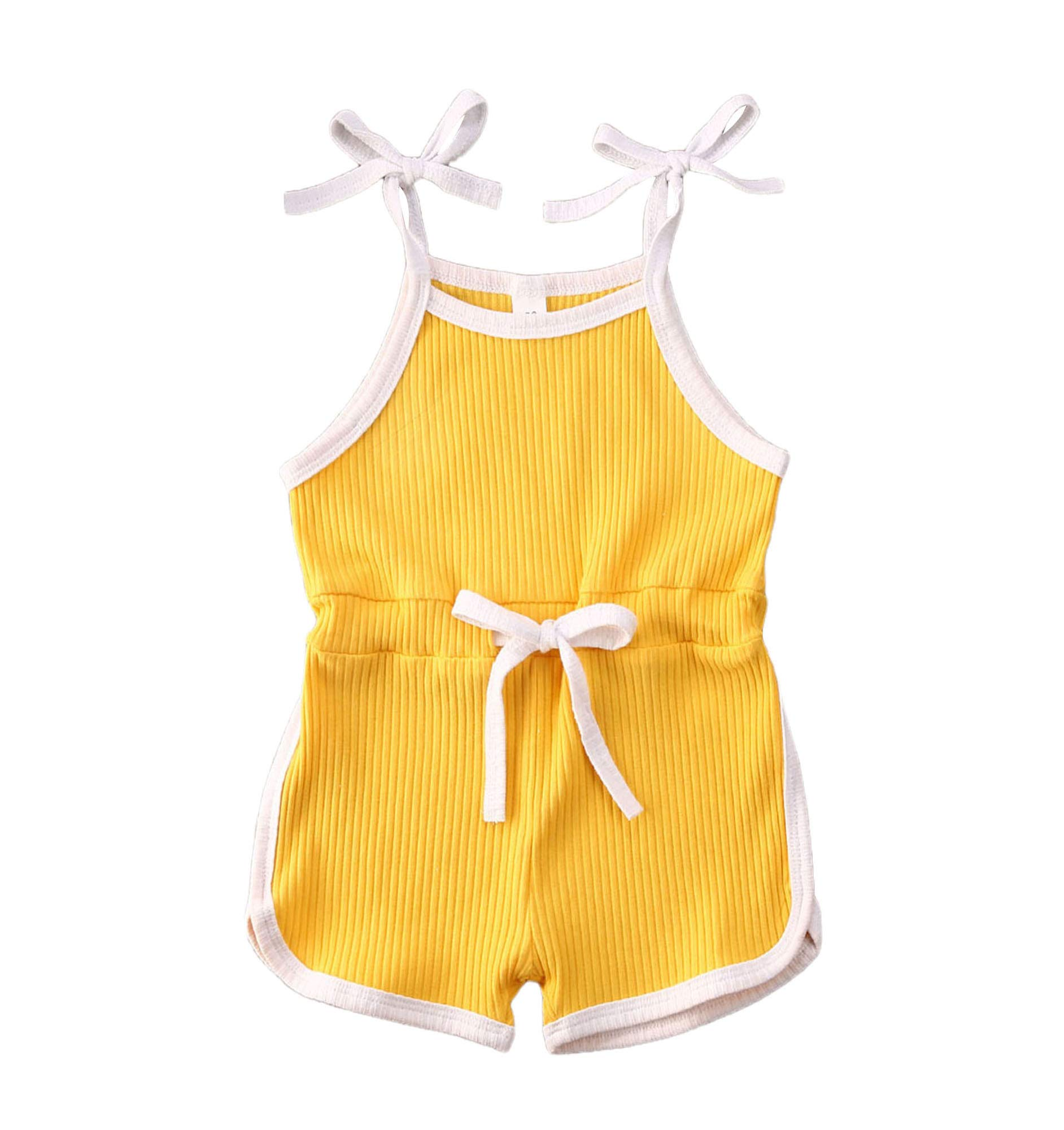allshope Baby Girls Strap Romper Summer Bodysuit Jumpsuit Cute Toddler Overalls Outfits