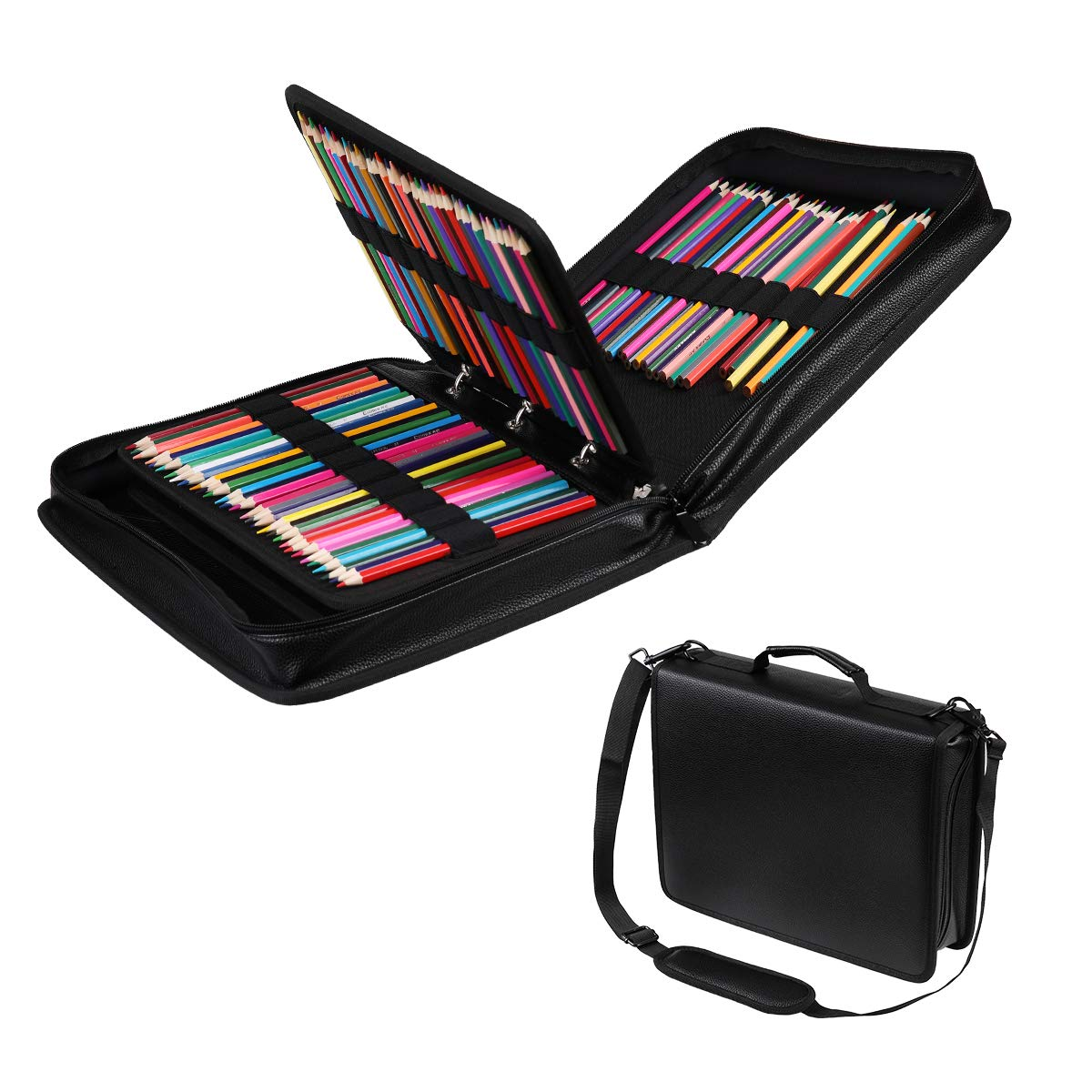 210 Slots Colored Pencil Case PU Leather Pencil Holder Large Capacity Pen Bag Marker Carrying Case for Prismacolor, Watercolor Pencils, Colored Pencils, Gel Pens, Cosmetic Brush Organizer (Black)