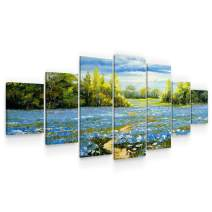 Startonight Large Canvas Wall Art Landscape - On The Blue Flowers Fields - Huge Framed Modern Set of 7 Panels 40 x 95 Inches