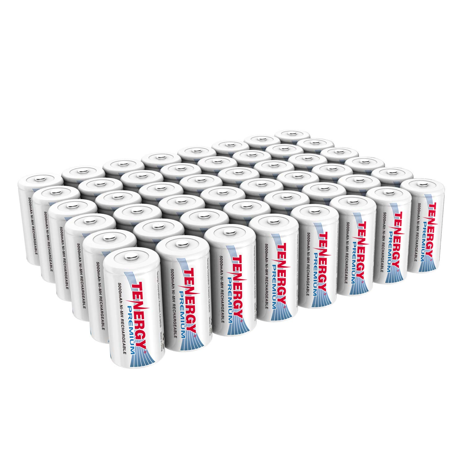 Tenergy Premium Rechargeable C Batteries, High Capacity 5000mAh NiMH C Size Battery, C Cell Battery, 48-Pack