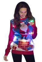 Unisex Women's Christmas Sweater Hoodie Funny Tacky Christmas Tree Reindeer Elf Ugly Pullover LED Light Up/No LED