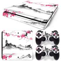 PS4 Slim Skins Console and Controller by ZOOMHITSKINS, Same Decal Quality for Cars, Japanese Cherry Blossom Pink Temple Pastel Flower Vintage Old Castle, Fit PS4 Slim, Made in USA