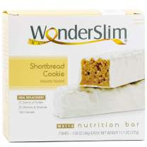 WonderSlim Meal Replacement Protein Bar - Low Carb Nutrition Bar for Women & Men - Shortbread Cookie - High Fiber, KETO Friendly, Weight Loss Diet Snack Bar (7ct)
