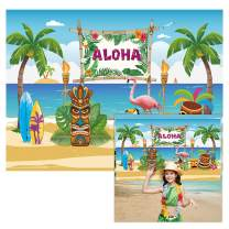 Allenjoy 6x4ft Fabric Aloha Theme Hawaiian Backdrop Supplies for Tropical Summer Holiday Luau Party Decorations Children 1st Birthday Background Studio Cake Smash Photography Photoshoot Props Favors