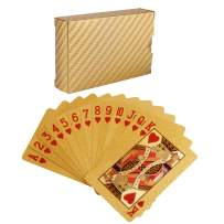 Waterproof Deck of Cards, 52+2 Playing Cards, 24k Gold Foil Plastic Poker Cards Standard Size - Luxury Magic Tricks Tools for Party and Table Game (1 Golden)