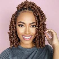 7 Packs Butterfly Locs Crochet Hair 12 Inch Pre-looped Bob Distressed Locs Soft Faux Locs Crochet Braids Butterfly Loc Twist Braiding Hair Synthetic Hair Extensions for Women (12Strands/Pack; 30#)