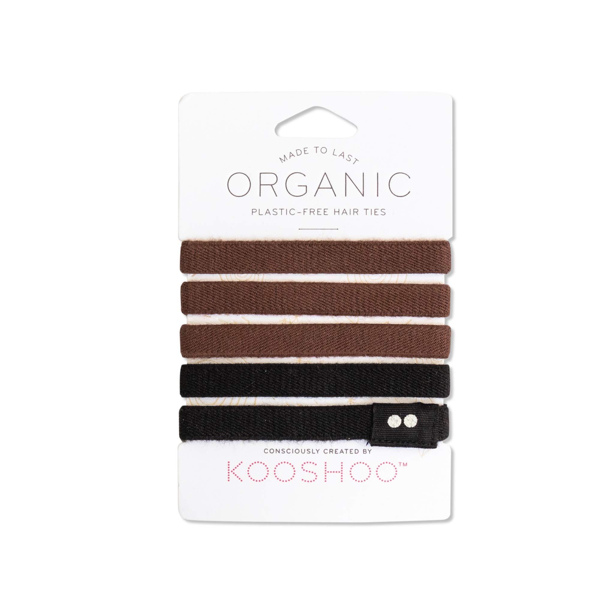 BIODEGRADABLE HAIR TIES in Brown and Black by KOOSHOO | Plastic-Free, Certified Organic Cotton Hair Elastics (5 Pack)