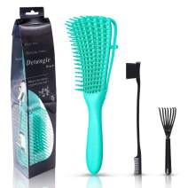 Detangling Brush Edge Brush in Nice Package for Curly Hair Grooming, Detangling Brush Set for Afro Textured Kinky Wavy Hair, Fast Detangling, Easy to Clean(Green)