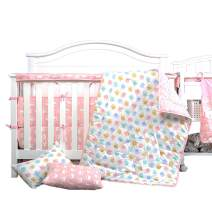UOMNY 4 Piece Baby Bedding Set - Includes Quilted Baby Blanket, Crib Sheet, 2 Pack Pillow Cases Owl Kids Toddler Bedding Set