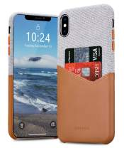 BIGPHILO iPhone X Case with Card Holder, Mix Series Slim Cover iPhone X Wallet Style, Soft-Touch Fabric with Synthetic Leather Case for iPhone X 2017 - Gray/Brown